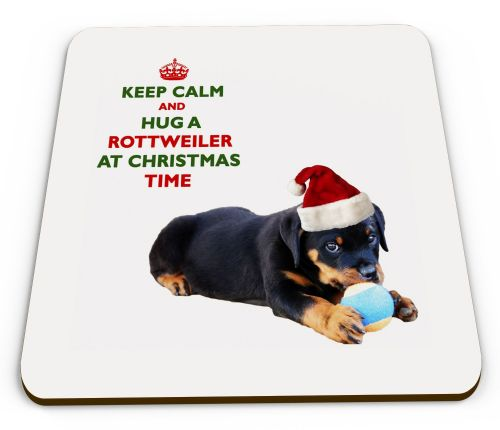 Christmas Keep Calm And Hug A Rottweiler Novelty Glossy Mug Coaster
